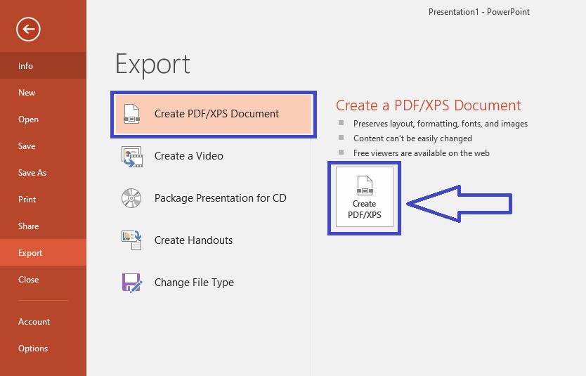 "Chọn ""Create PDF/XPS Document"""