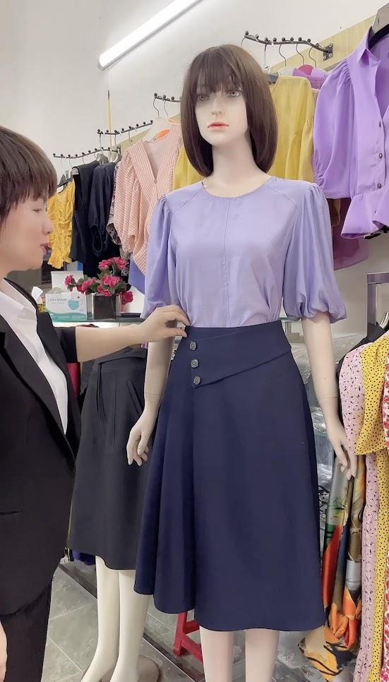áo sơ mi nữ và chân váy xòe thời trang thủy thiết kế quảng ninh