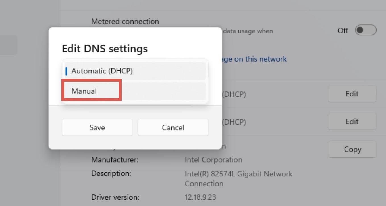 Set the DNS settings to Manual option.