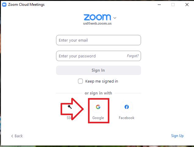 Trong màn hình đăng nhập, ở mục or signed in with bạn nhấn vào biểu tượng Google