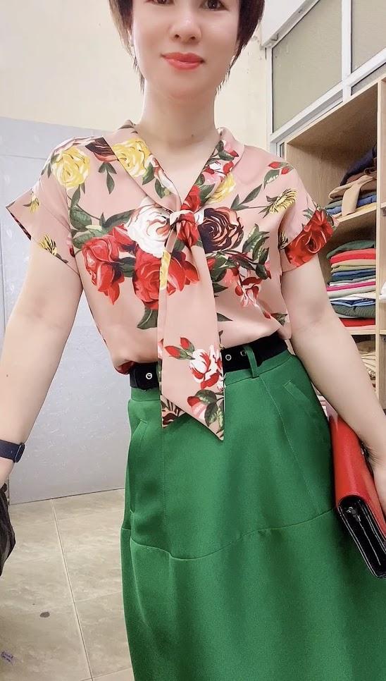 áo sơ mi nữ tay hếch và chân váy xòe vải taffta thời trang thủy đà nẵng
