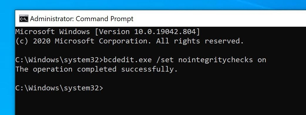 Command prompt to disable driver integrity checks