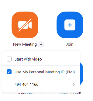 Bạn nhấn vào mũi tên hướng xuống, để thiết lập tạo một phòng Zoom với ID mới hay ID cố định