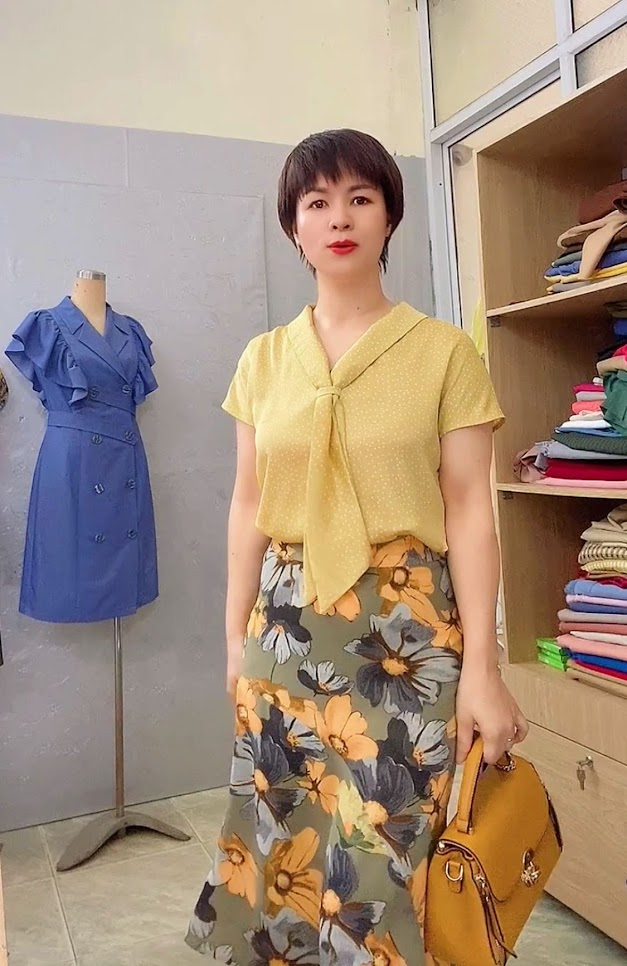 áo sơ mi nữ cổ nơ chấm bi chân váy xòe đuôi cá V767 thời trang thủy hải phòng 2