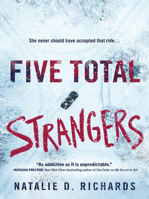 Five Total Strangers book cover with driving car on snowy roads