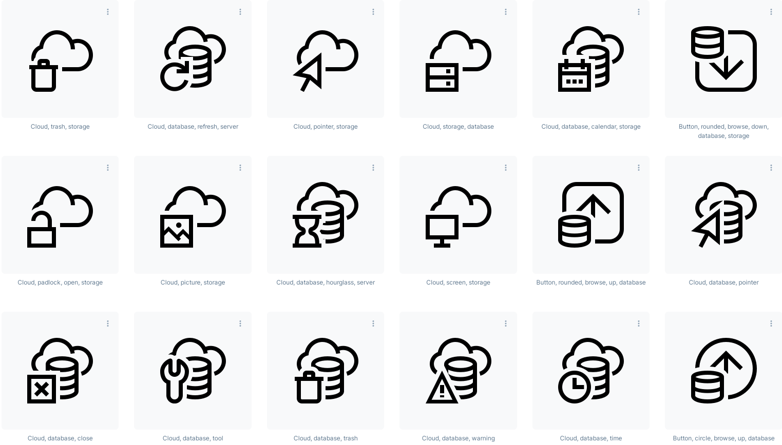 cloud icons in transparent backgrounds