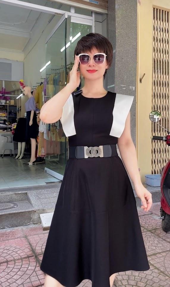 Váy xòe liền dáng midi phối màu đen trắng V770 thời trang thủy hải phòng 1