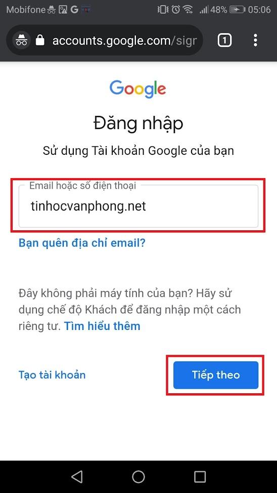 hướng dẫn đăng nhập tài khoản Google