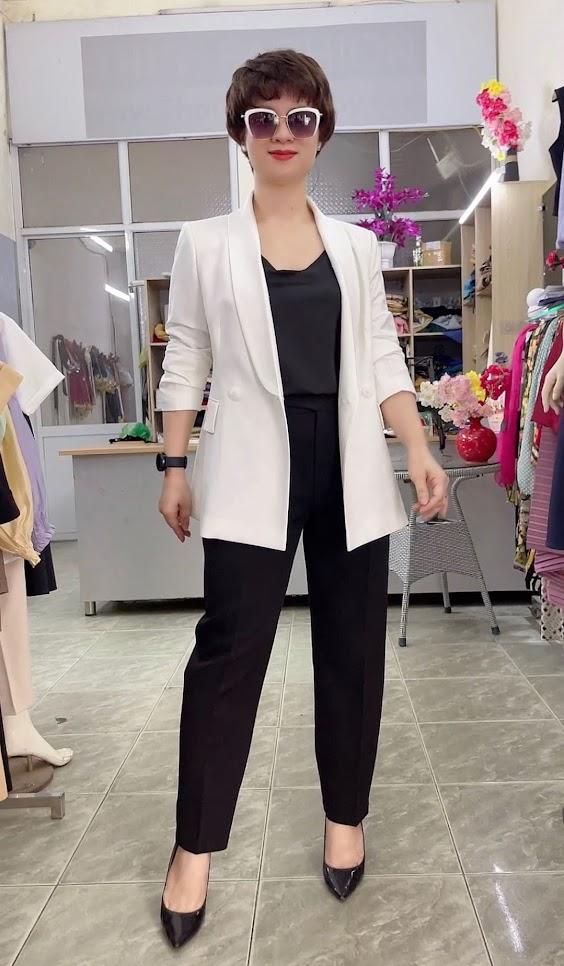 áo vest nữ cổ sam dáng dài suông eo mặc đẹp thời trang thủy quảng ninh