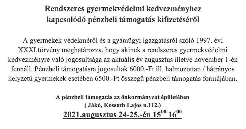 Értesítés - gyermekvédelmi kifizetés 2021. augusztus 24-25