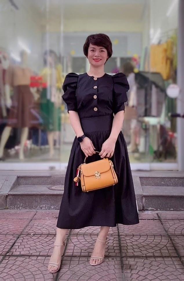 áo croptop nữ tay bống phối đồ chân váy xòe midi thời trang thủy nam định