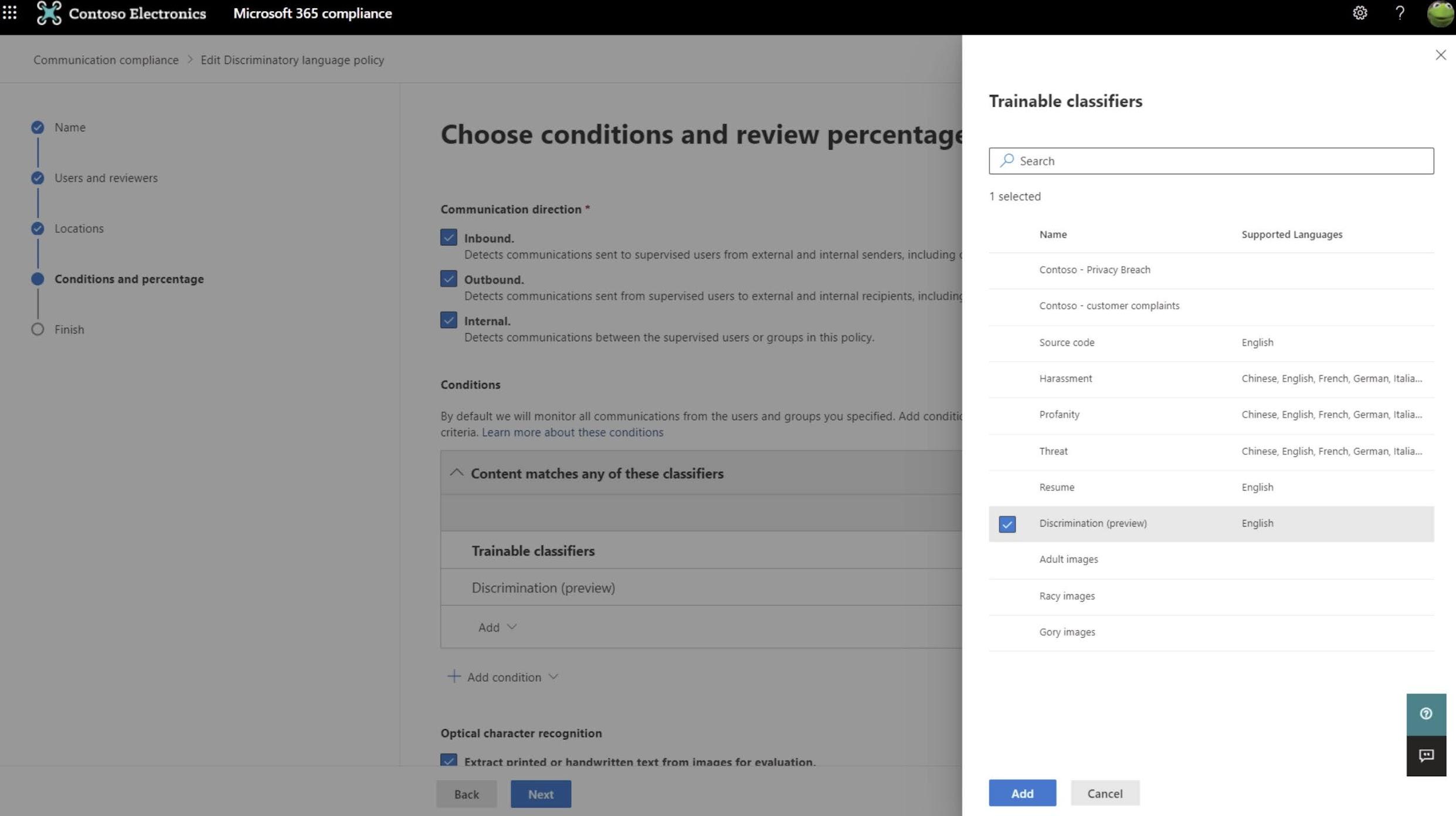 MC268758: Announcing Communication Compliance discrimination classifier for Microsoft 365 (preview)