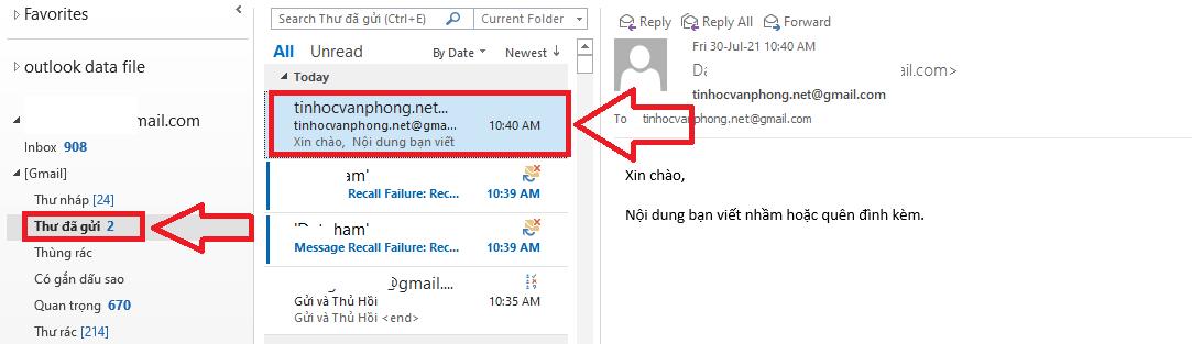 Mở Outlook lên, Nhìn phía bên trái màn hình, chọn Thư đã gửi hay Sent Items và nhân đúp vào email bạn đã gửi muốn thu hồi.