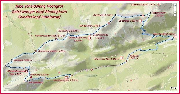 Map Hhochgrat Rindalphorn Gündleskopf Buralpkopf Naturpark Nagelfluhkette