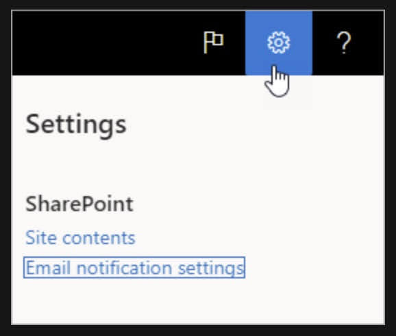 Select Email notification settings.