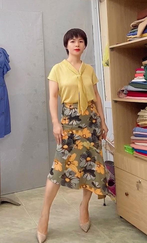 áo sơ mi nữ cổ nơ chấm bi chân váy xòe đuôi cá V767 thời trang thủy hà nội