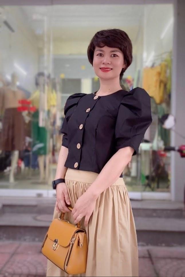 áo croptop nữ tay bống phối đồ chân váy xòe midi thời trang thủy kiến an