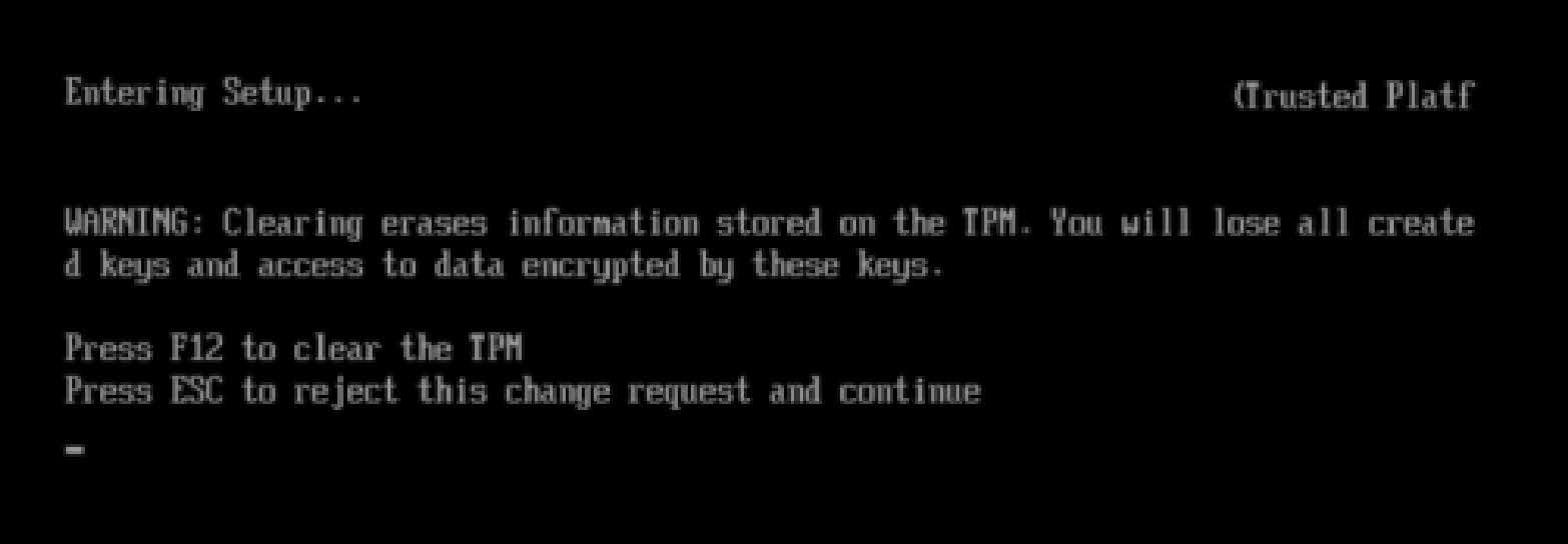 Enable TPM 2.0 for the Intel motherboard: Restart after set to Clear TPM