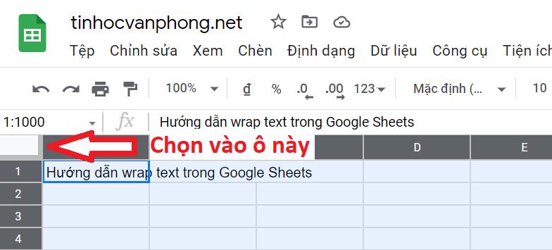 hướng dẫn wrap text trong google sheets