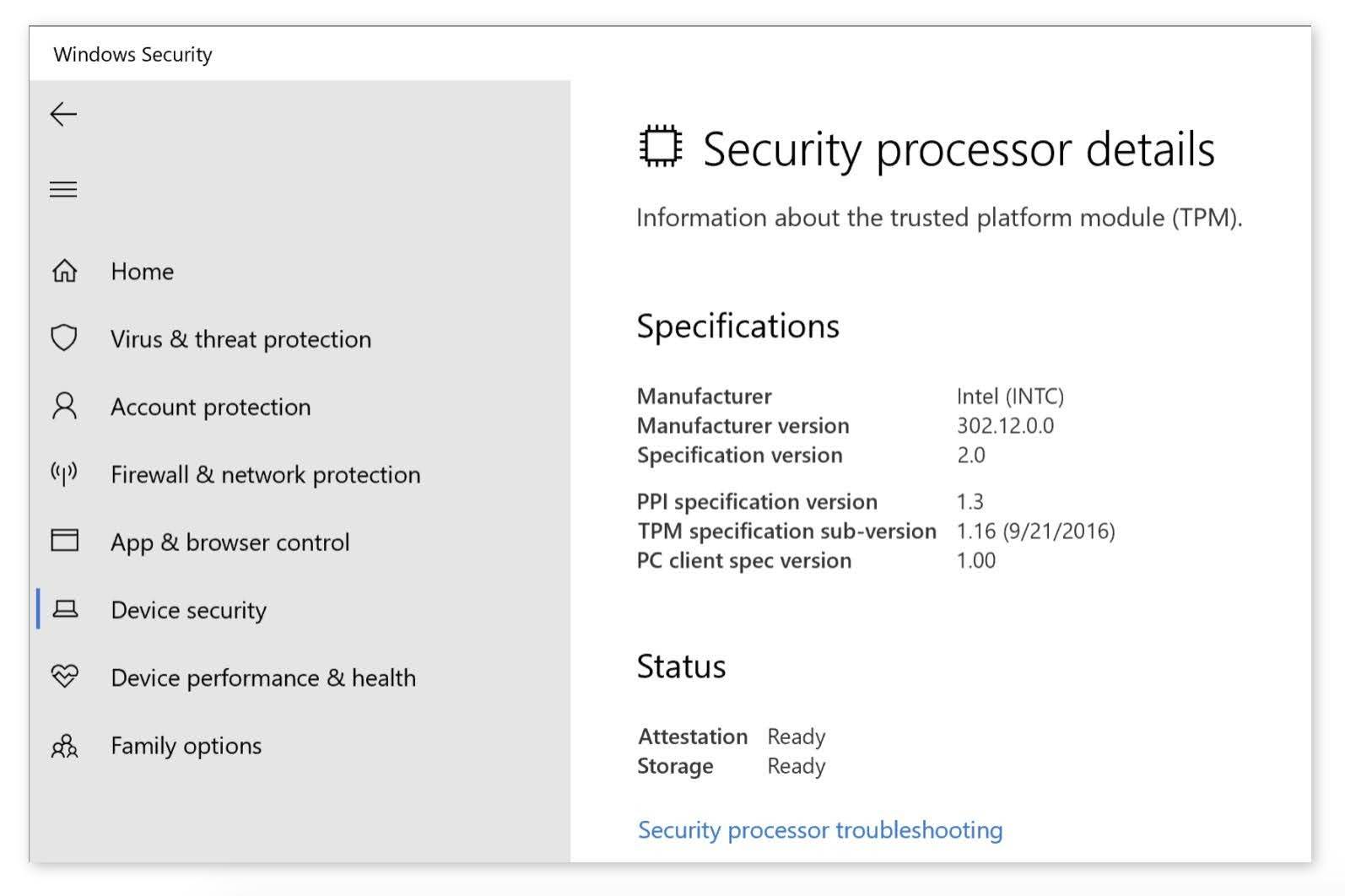 If the TPM 2.0 is enabled, you'll see a link to the Security processor details page under Security processor.