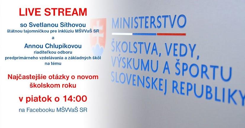 LIVE stream Ministerstva školstva SR