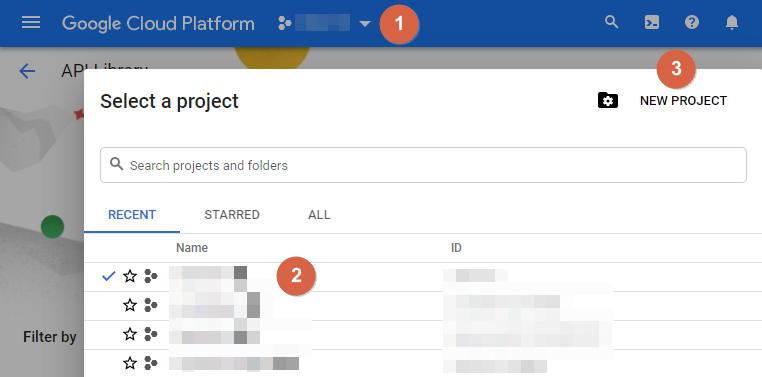 Google Cloud Platform Select a project