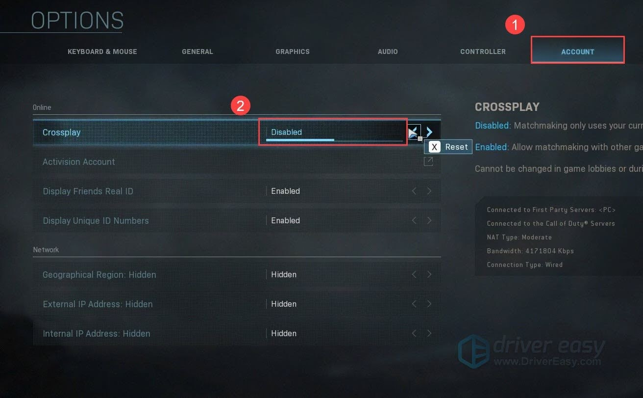 Set the Crossplay option to Disable.