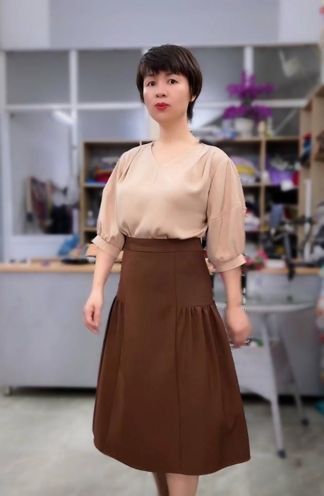 Ưu điểm xếp nhún hông chân váy xòe midi thời trang thủy hà nội