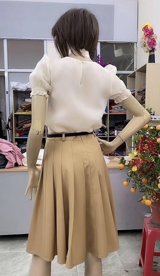 áo sơ mi nữ chân váy xòe công sở thời trang thủy thái bình