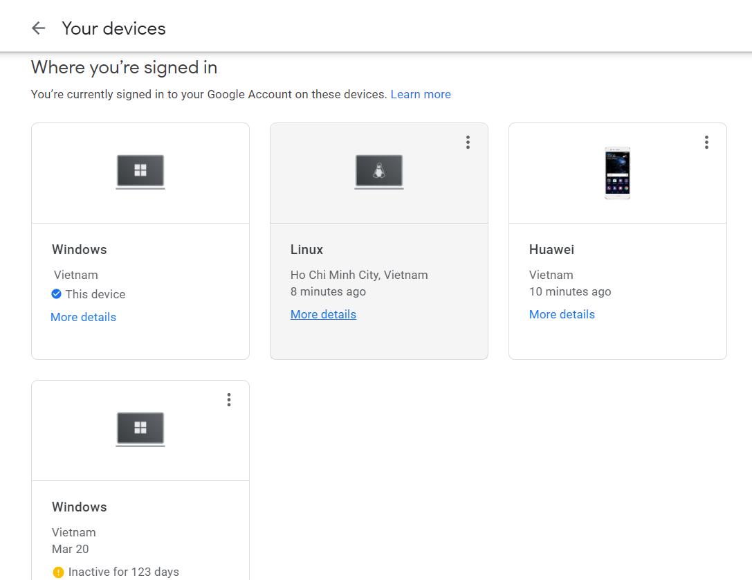 đăng xuất gmail khỏi thiết bị khác