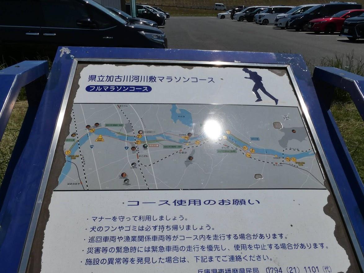 加古川河川敷マラソンコースの看板
