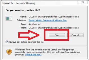 Nhấn double click vào file cài đặt và chọn Run( nếu có thông báo Security Warning)
