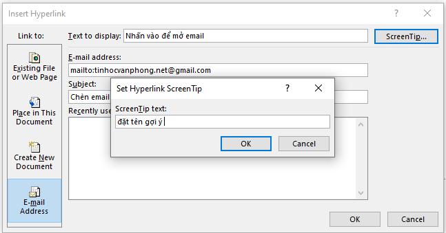chèn link vào Powerpoint - đặt tên hiển thị cho liên kết trong Powerpoint
