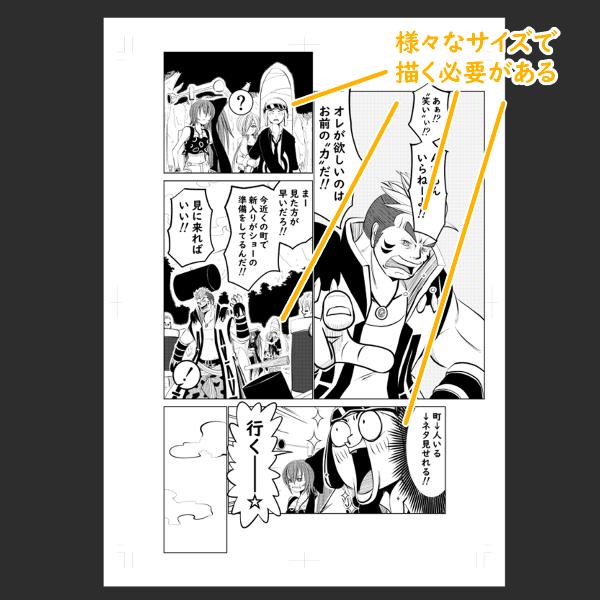 漫画で描く様々なキャラサイズ