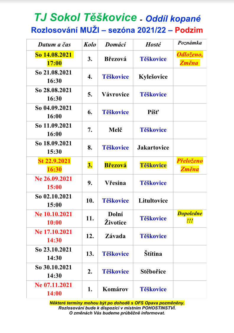 TJ Sokol Těškovice - Oddíl kopané Rozlosování MUŽI – sezóna 2021/22 – Podzim