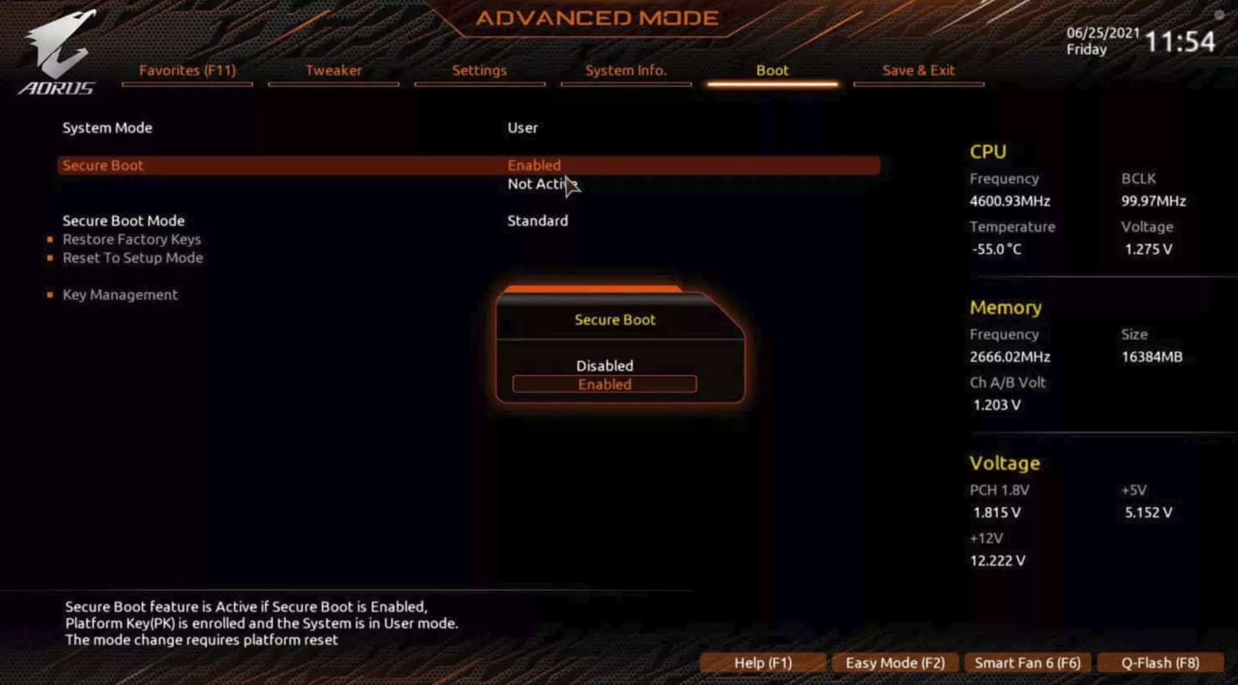 Enable TPM 2.0 for GIGABYTE motherboard using AORUS: Click the Secure boot option and change it to Enabled.