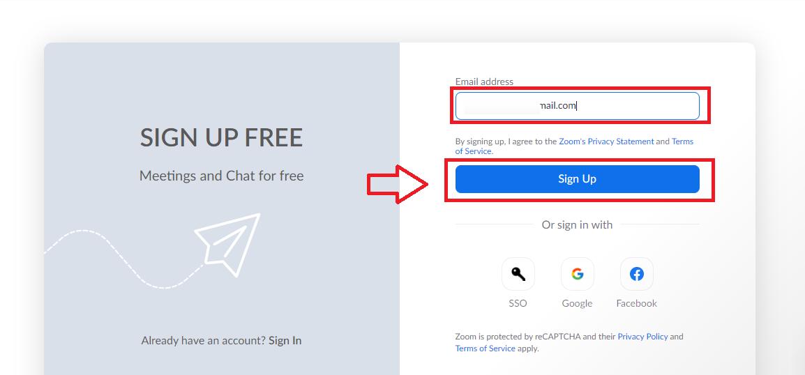 nhập địa chỉ email và nhấn Sign Up
