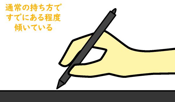 通常時のペンの角度