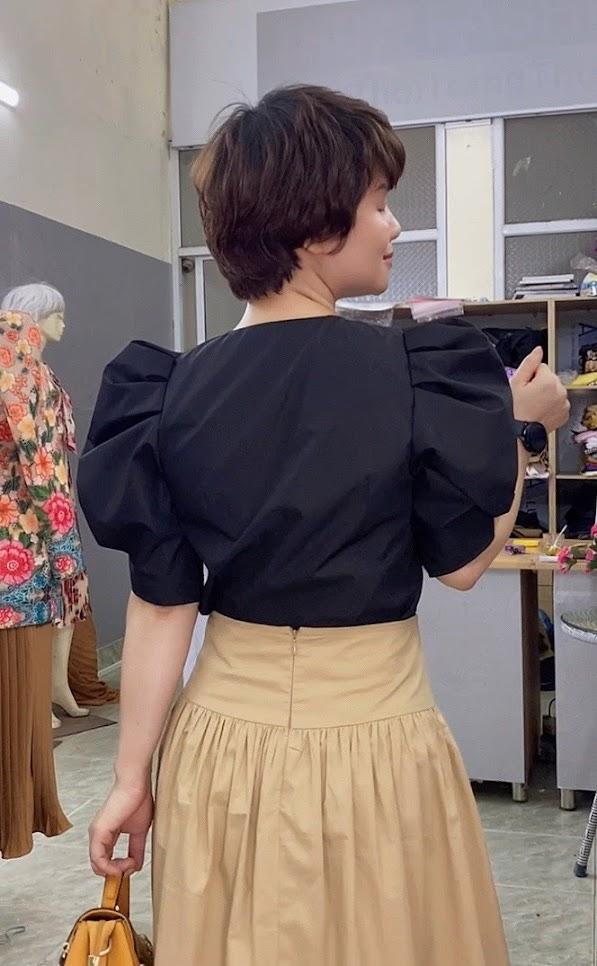 áo croptop nữ tay bống phối đồ chân váy xòe midi thời trang thủy thái bình