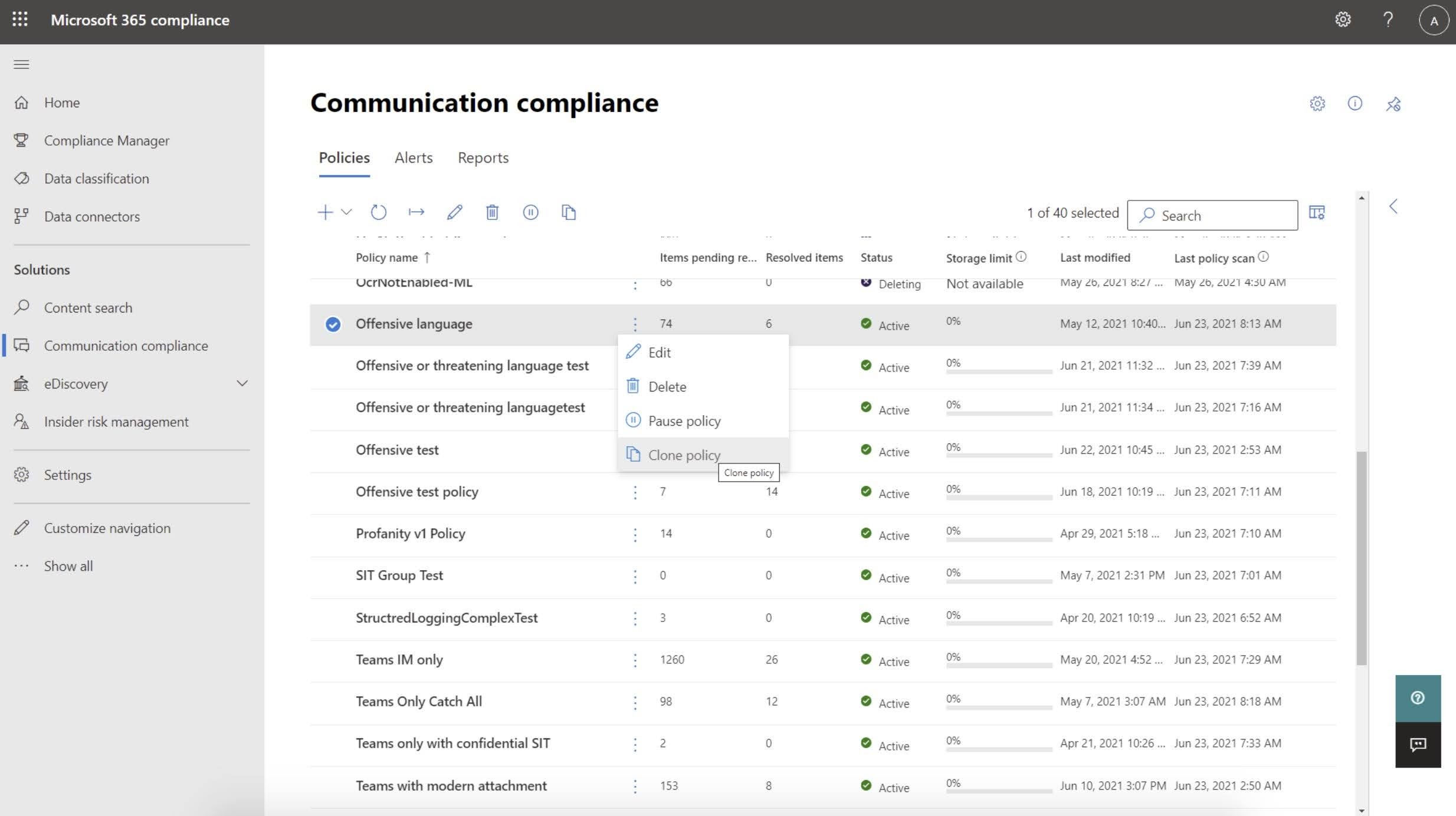 MC264662: Microsoft Compliance center: Announcing Communication Compliance policy cloning and consumption visibility
