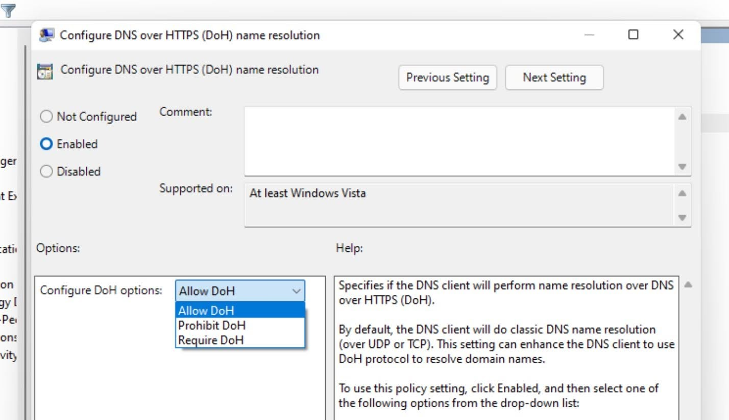 Click on the radio button for Enabled and select Allow DoH for Configure DoH options.