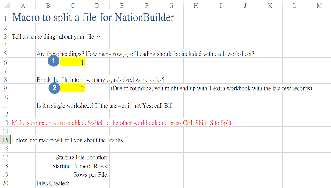 How to split a CSV or Excel file 3