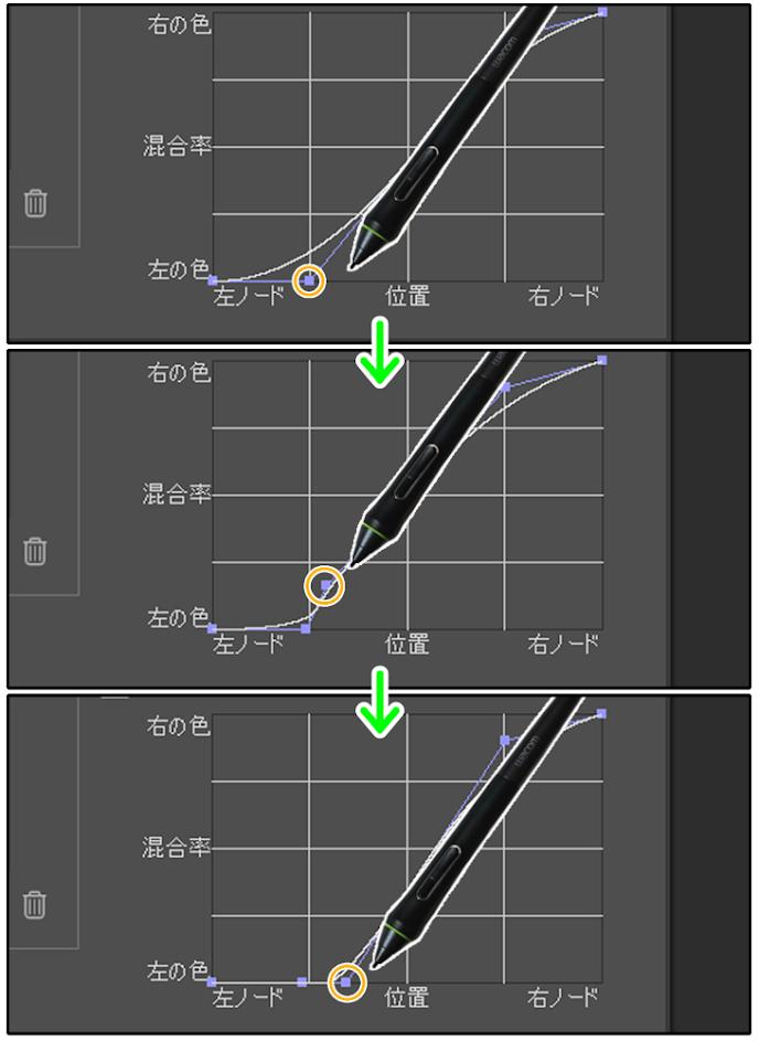 クリスタの混合率曲線でグラフを端に持っていく方法