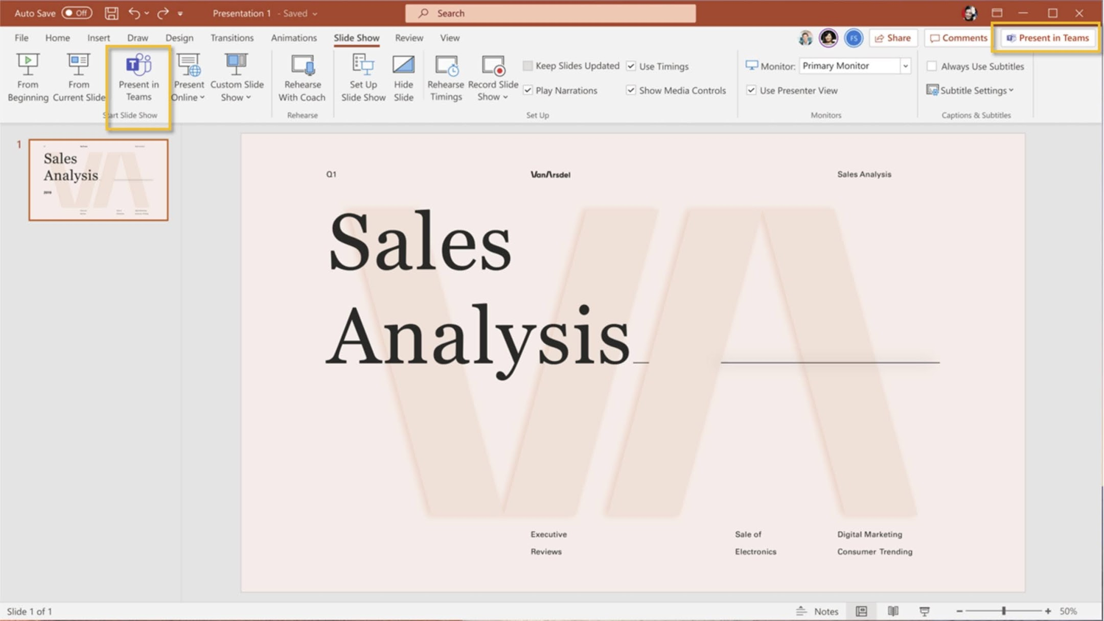MC252704: PowerPoint Live: Present to Teams from PowerPoint for Windows