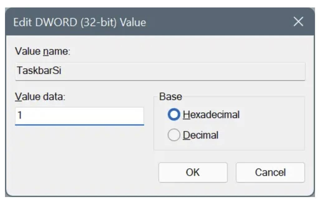 Double-click on TaskbarSiand set the value for small, medium, or large.