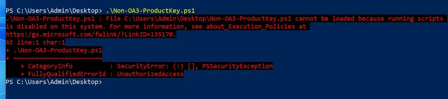 cannot be loaded because running scripts is disabled on this system. For more information, see about_Execution_Plicies at