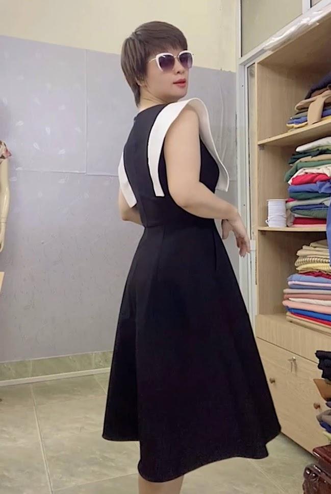 Váy xòe liền dáng midi công sở v770 thời trang thủy quảng ninh