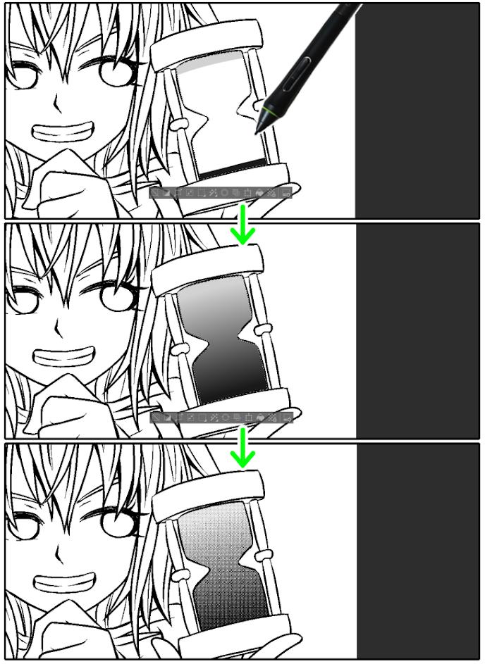 クリスタの等高線塗りツールを使用したグラデーショントーン調整(漫画応用編)