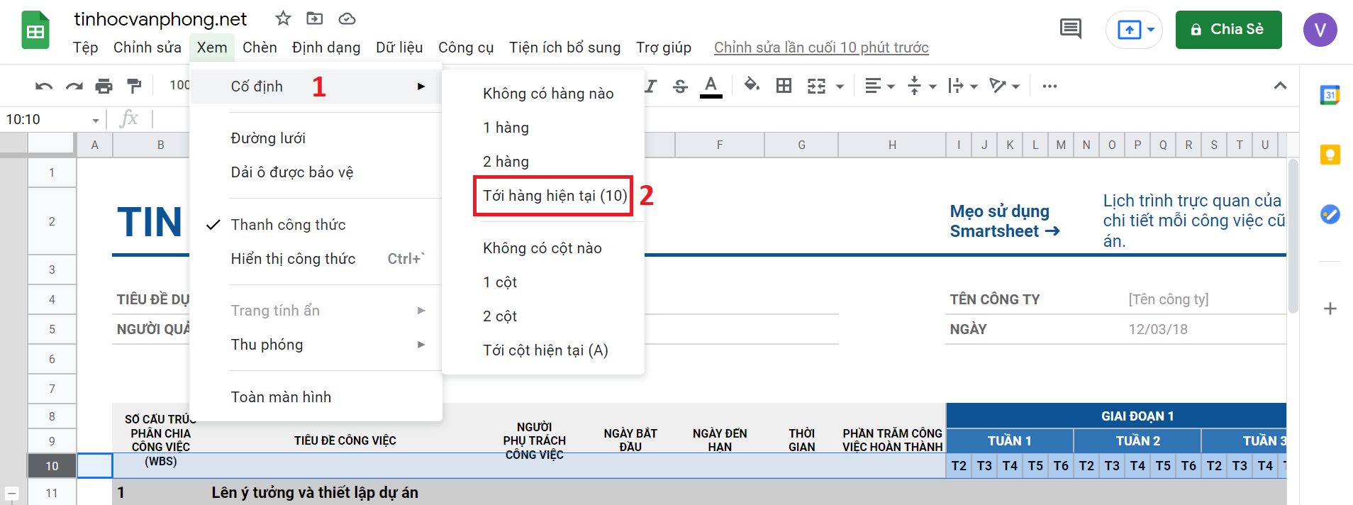hướng dẫn cố định hàng trong google sheets