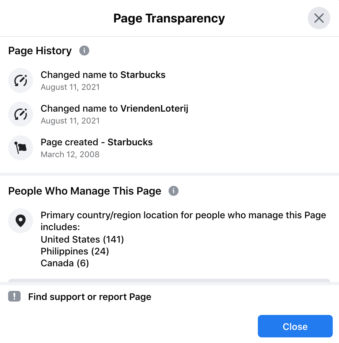 Starbucks FB Page was hacked
